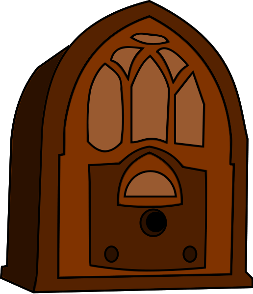 Old Time Radio medium 600pixel clipart, vector clip art.
