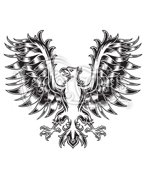 Classic Tattoo Medieval Eagle Wings ClipArt.