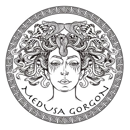 Medusa Gorgon BW sketch Clipart Image.