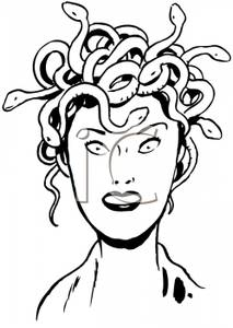A Black and White Retro Style Cartoon of Medusa.