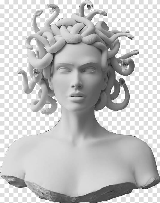 White concrete medusa headbust, Foamo Medusa Gorgon City.