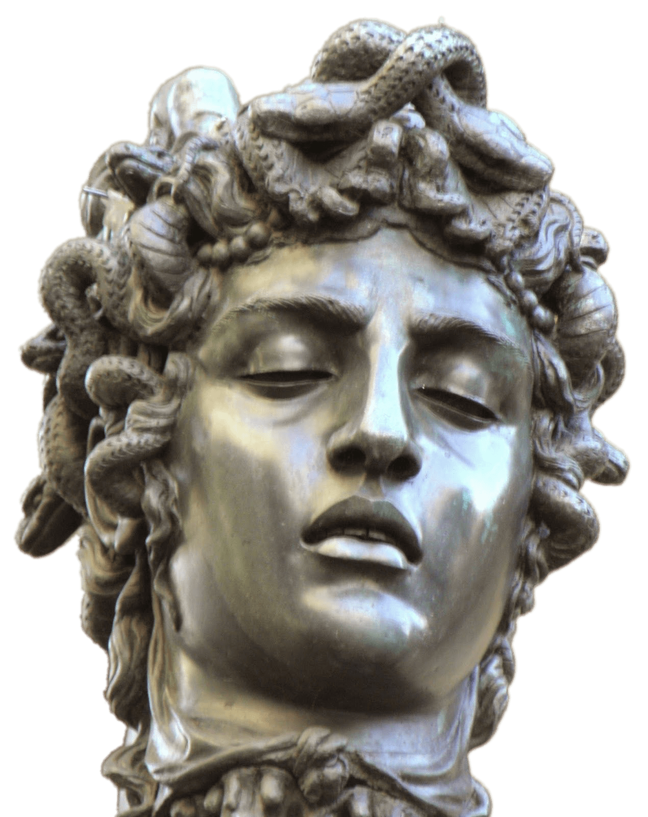 Head Of Medusa With Closed Eyes transparent PNG.