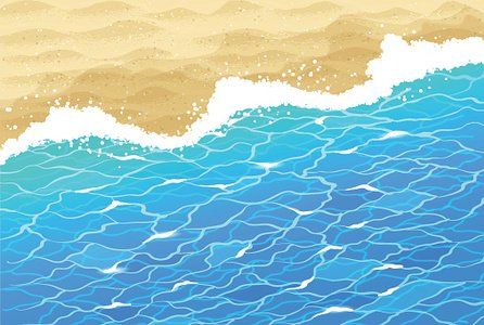 Sea surf and beach sand. Clipart Image.