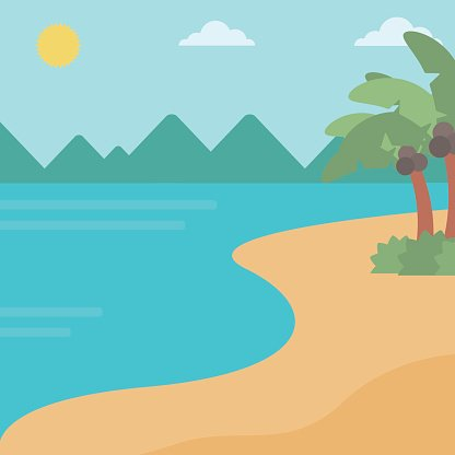 Background of tropical beach and sea Clipart Image.