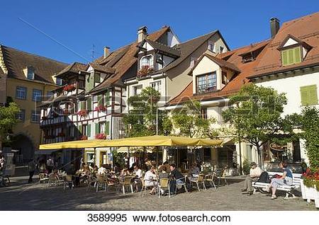Stock Image of Street cafe, Meersburg, Baden.