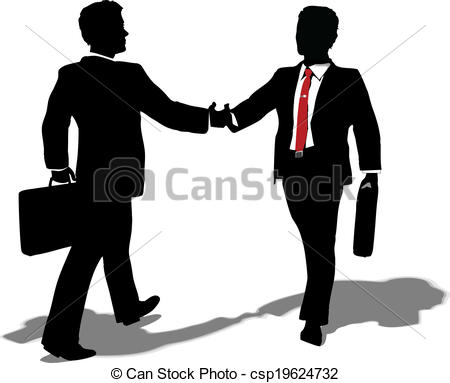 Vectors of Business people meet to make deal.