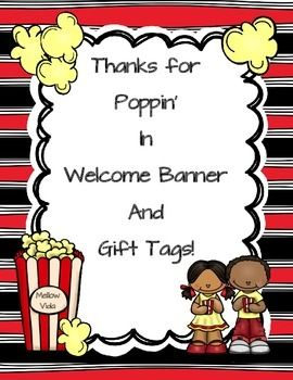 Meet the Teacher Popcorn Themed Banner and Tags.