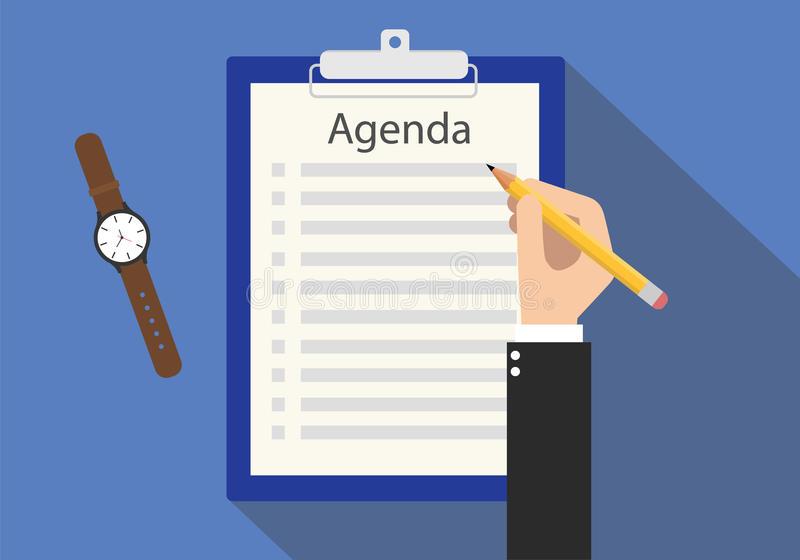Agenda Meeting Stock Illustrations.