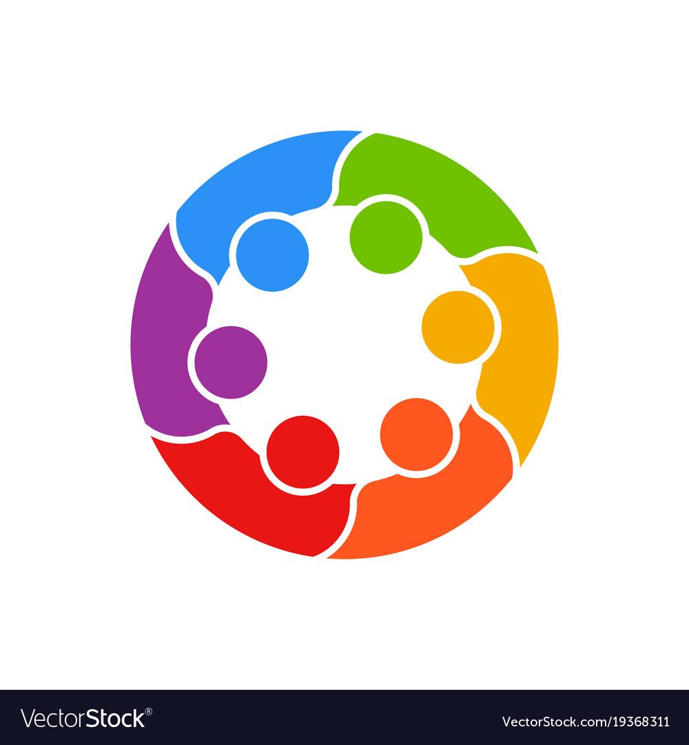 Meeting people circle business logo.
