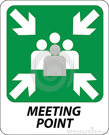 Meeting Place Sign Stock Vector.