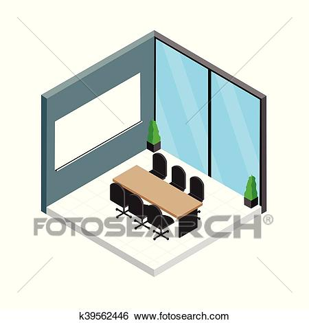 Isometric meeting room Clip Art.