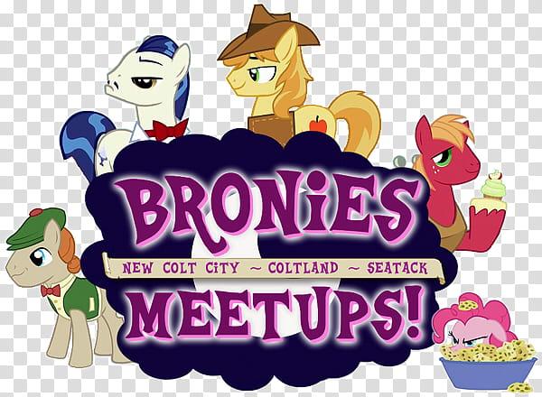 Bronies Meetups logo v, Bronies meetups text transparent.