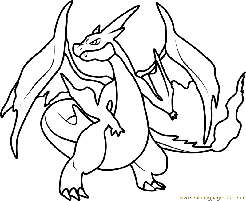 Pokemon Coloring Pages Mega Charizard Y.