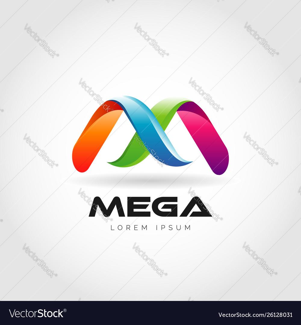 Letter m mega colorful logo design.