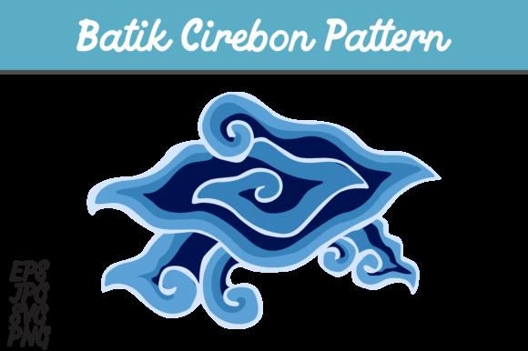 Blue Batik Cirebon Mega Mendung Indonesia set SVG vector image.