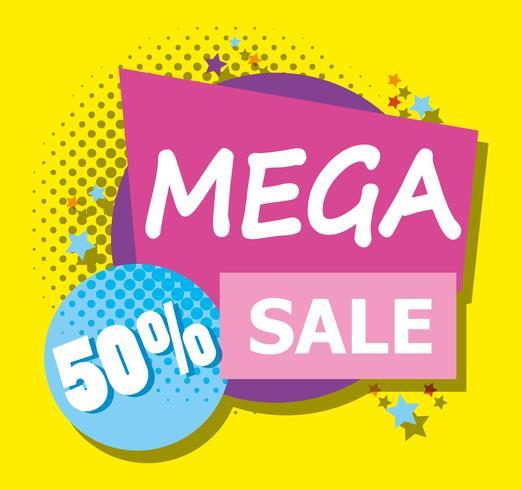 Mega sale discounts poster memphis style.