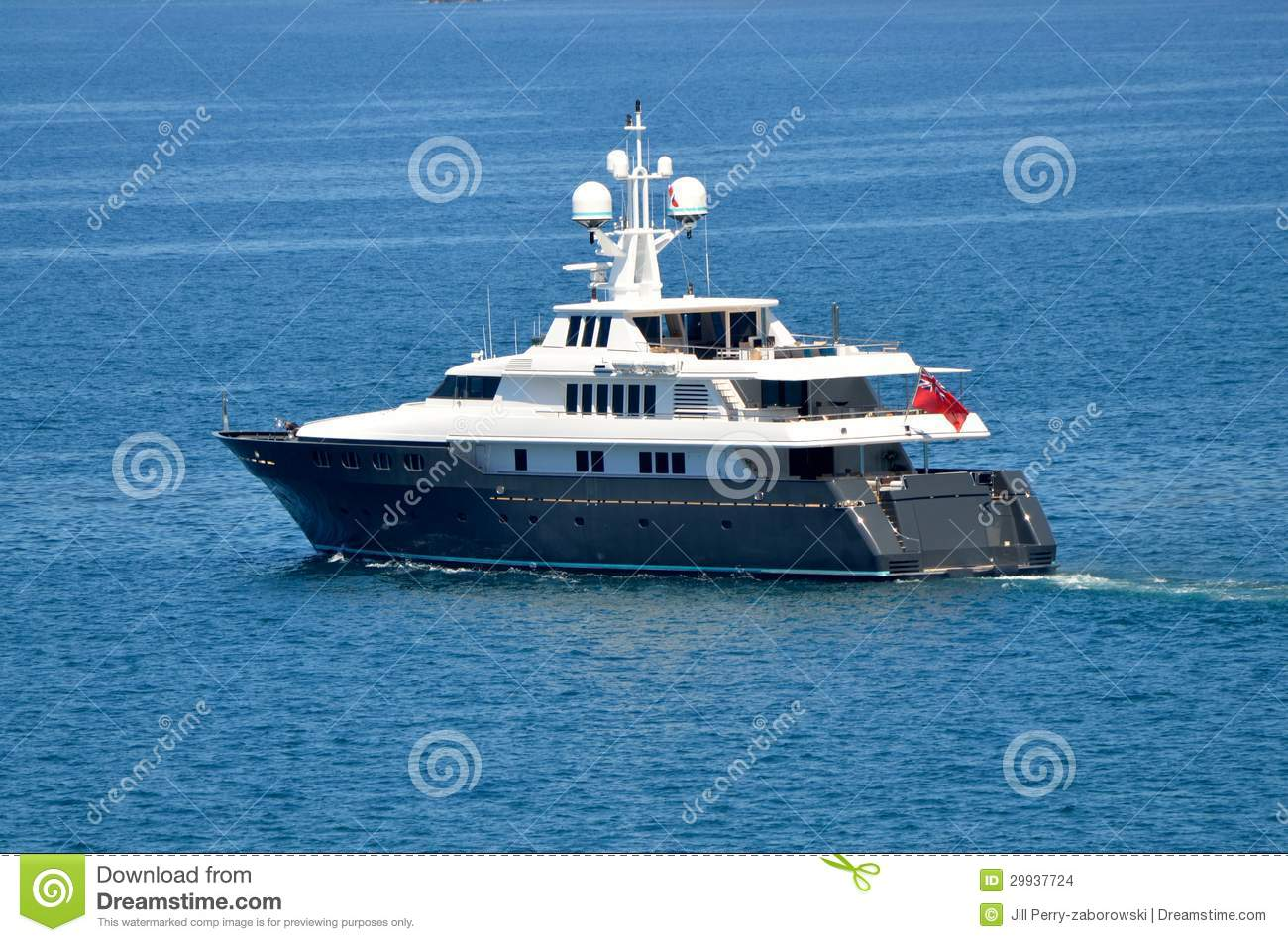 Luxury Super Yacht Boat On The Ocean Stock Images.