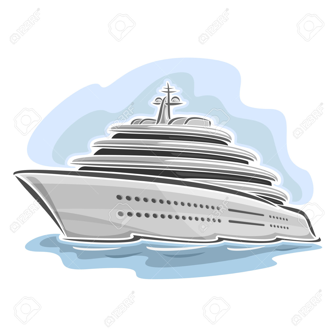 Vector Illustration Of Large Mega Yacht, Consisting Of Luxury.