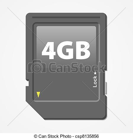 Clip Art Vector of Memory Card Vector.