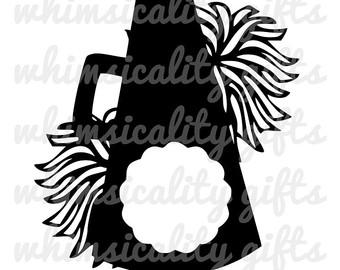 megaphone and pom pom clip art clipground