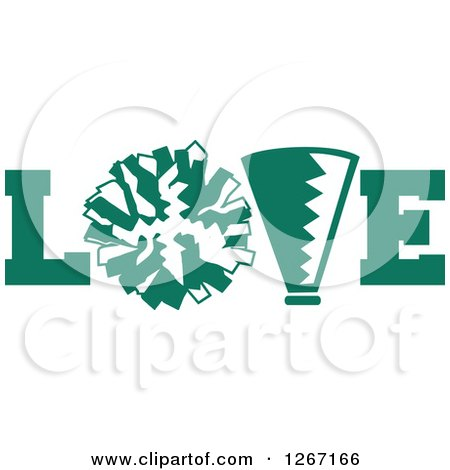 Clipart of a Green and White Megaphone and Cheerleading Pom Pom in.