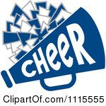Clipart Cheerleader Pom Pom And Megaphone In Blue Tones.