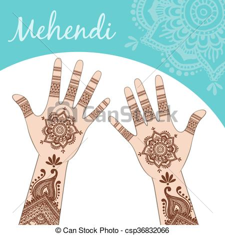 Women's hands, palms up. Mehendi..