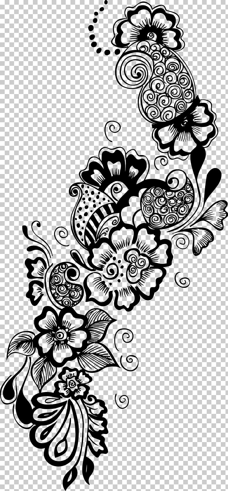 Arabic Tattoos Mehndi Henna, decorative PNG clipart.