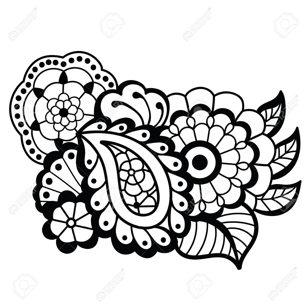 Mehndi design. Floral pattern. » Clipart Station.