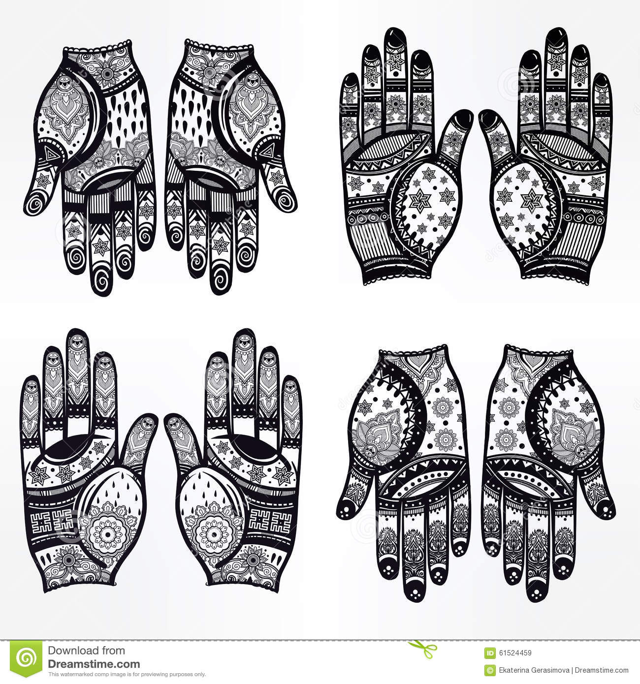Hands With Henna Tattoos Set Illustration. Stock Vector.