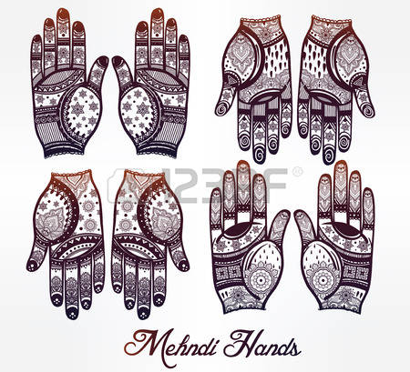 5,293 Mehndi Hands Stock Illustrations, Cliparts And Royalty Free.