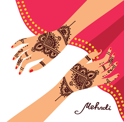 Hand Henna Tattoo Clip Art, Vector Images & Illustrations.