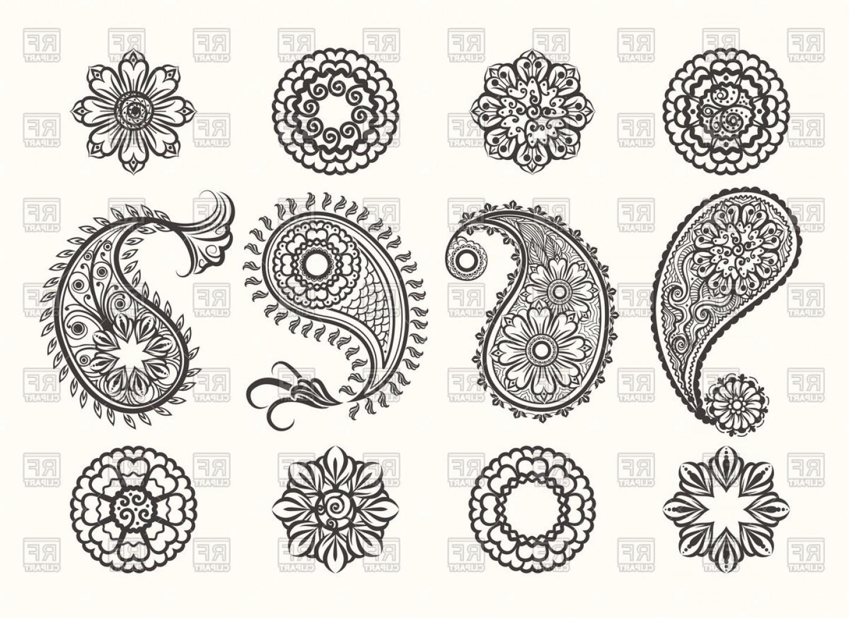 Set Of Floral Paisley Elements Ethnic Mehndi Ornaments.