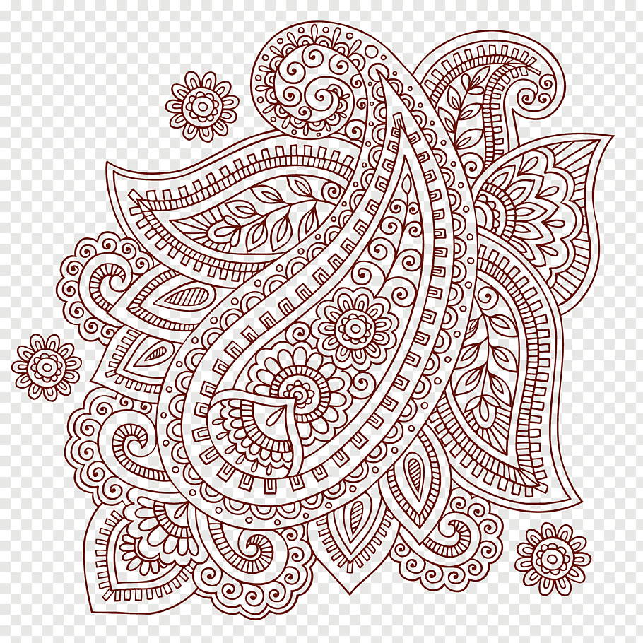 Brown paisley, Paisley Mehndi Doodle, Simple ham pattern.