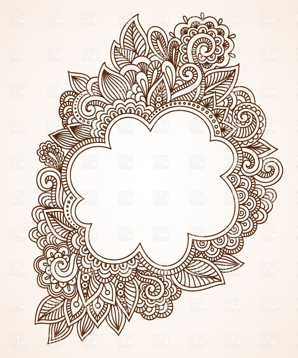 Brown ethnic floral frame Stock Vector Image.