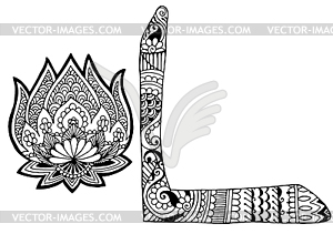 Letter L decorated in the style of mehndi.