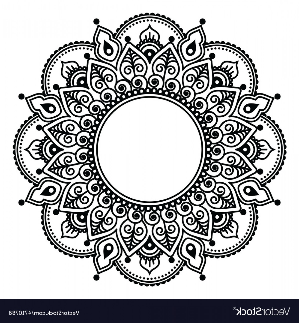 Mehndi Lace Indian Henna Tattoo Round Design Vector.