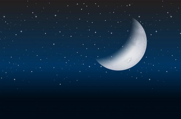 Meia lua no céu.