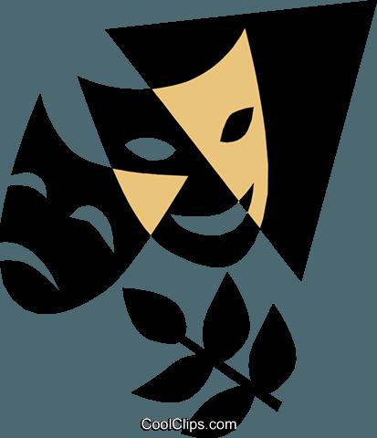 theatre masks Royalty Free Vector Clip Art illustration.