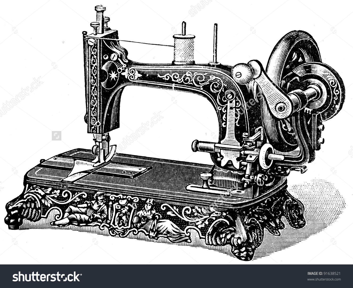 Hand Sewing Machine Meissen Illustration Encyclopedia Stock Photo.