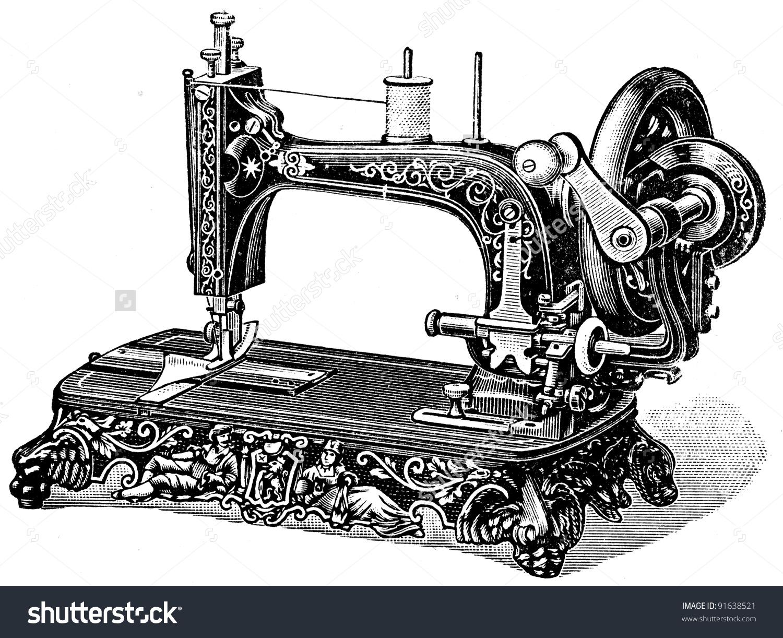 Hand Sewing Machine Meissen Illustration Encyclopedia Stock Photo.