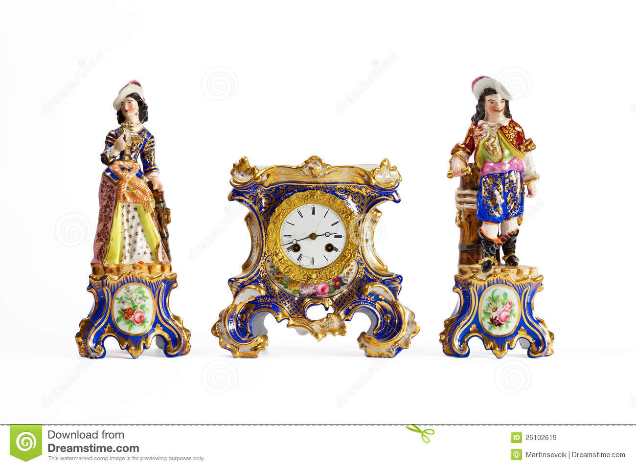 Rococo Meissen Porcelain Clock Royalty Free Stock Images.