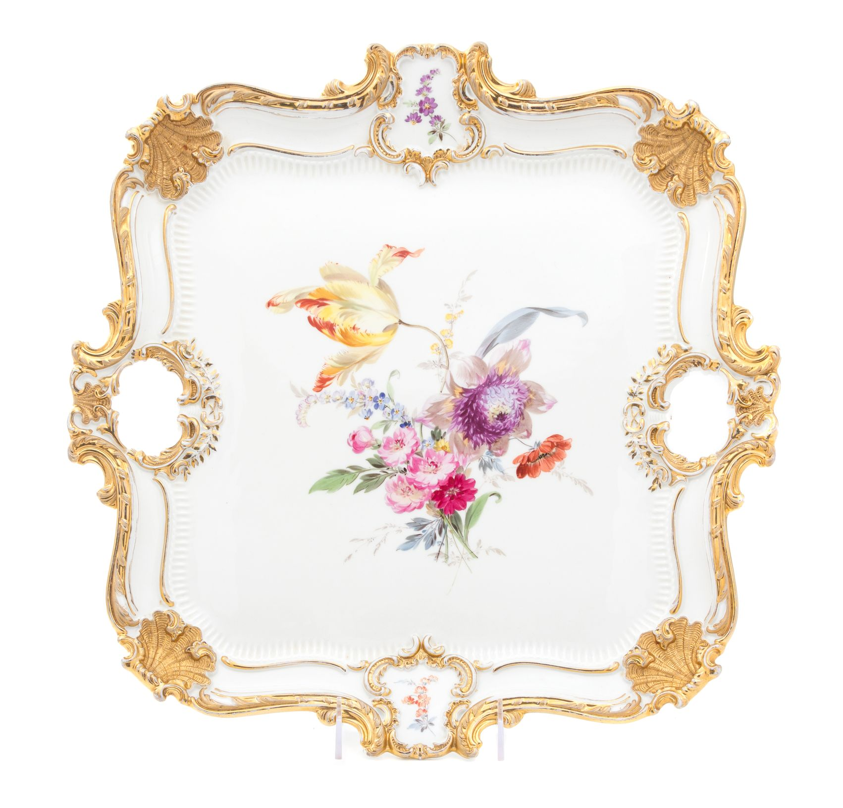 A Meissen Porcelain Tray of rectangular handled form, painted at.