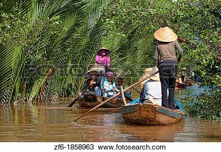 Stock Photo of Mekong Delta water river swamps of green muddy.