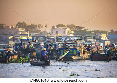 Stock Images of Vietnam, Mekong Delta, Can Tho town x14861616.