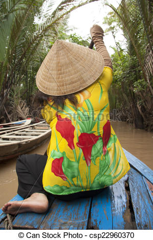 Stock Illustrations of Vietnam woman rows a boat, Mekong.