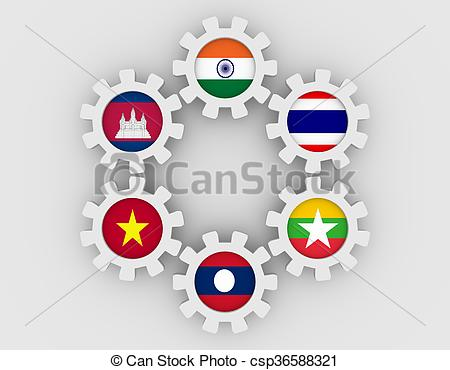 Clip Art of Mekong Ganga cooperation members flags on gears.