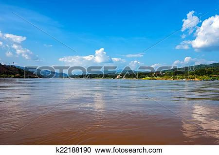 Stock Photography of Panoramic view of Mekong river flowing.