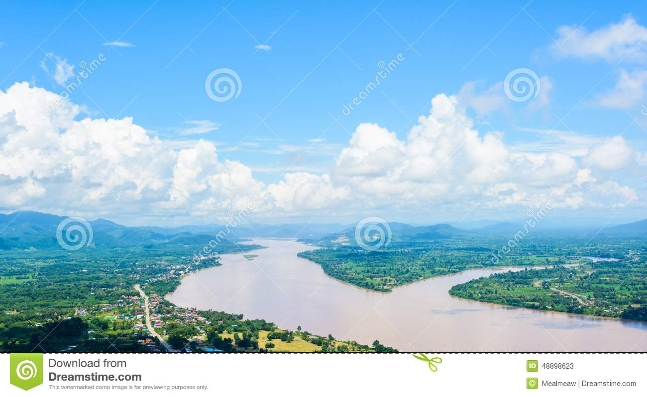 Mekong River At Nongkhai In Thailand Stock Photo.