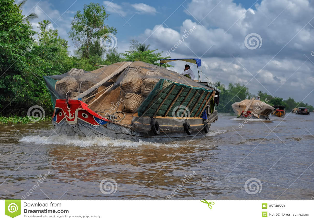 Mekong River Transport Editorial Stock Photo.